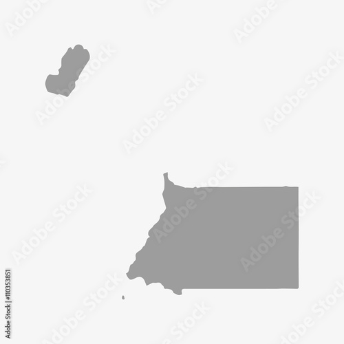Fotografía  Map of Equatorial Guinea in gray on a white background