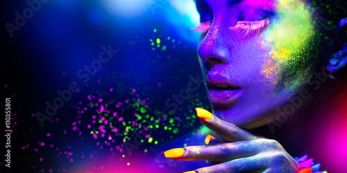 Obraz Fashion woman in neon light, portrait of beauty model with fluorescent makeup - fototapety do salonu