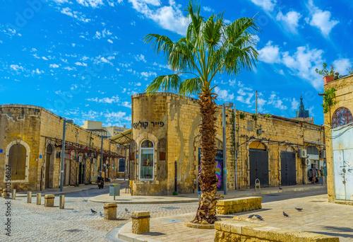 In de dag The corner buildings in old Jaffa