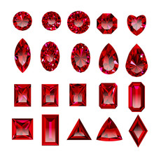 Set Of Realistic Red Jewels. C...