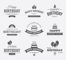 Black Birthday Labels Set