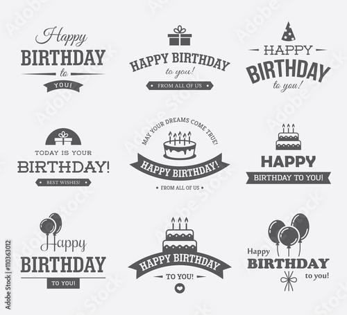 Photo  Black Birthday Labels Set