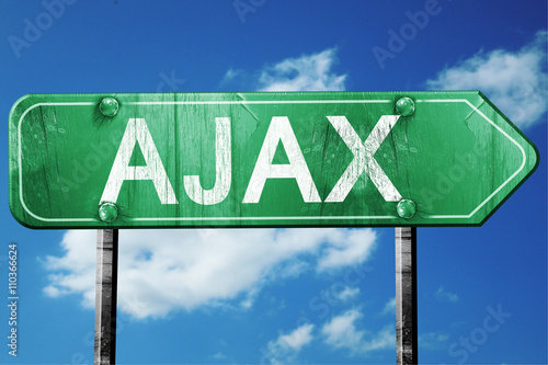 Ajax, 3D rendering, a vintage green direction sign Wallpaper Mural
