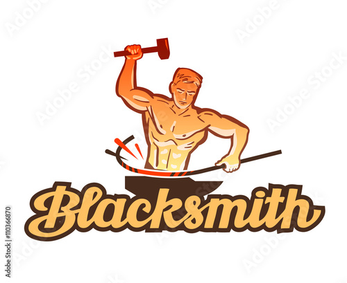 Photo  blacksmith vector logo. smithy or industry icon