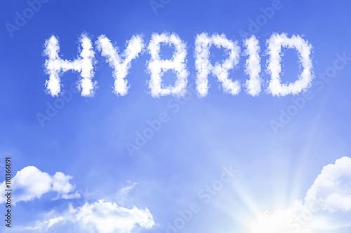 Leinwand Poster Hybrides Wolkenwort mit einem blauen Himmel