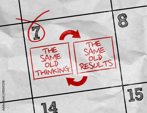 Concept image of a Calendar with the text: The Same Old Thinking - The Same Old Results Wall mural