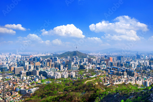 View of cityscape and Seoul tower in Seoul, South Korea. Poster