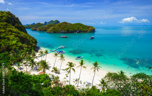 Fototapeta Bird eye view of Angthong national marine park, koh Samui, Thail