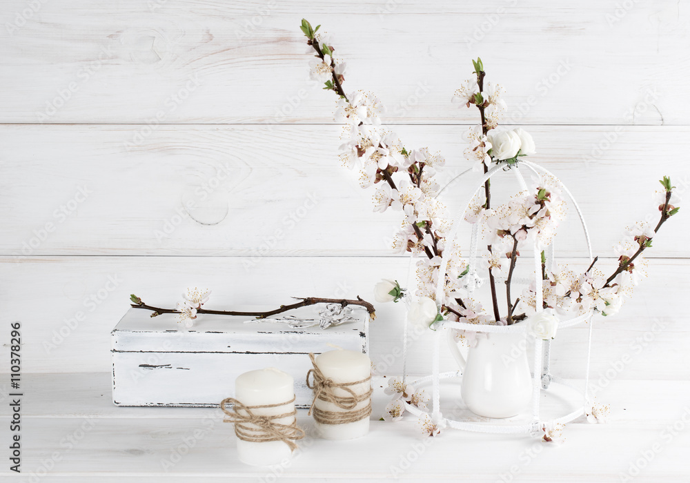 Foto-Lamellen (Lamellen ohne Schiene) - Apricot flowers with candle and old casket in Shabby Chic style