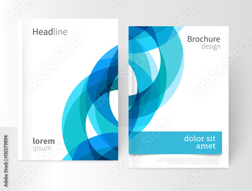 Vector Abstract Business Brochure, Annual Report, Flyer, Leaflet Cover Template. Geometric abstract background blue and green circles intersecting. concept catalouge design. EPS 10