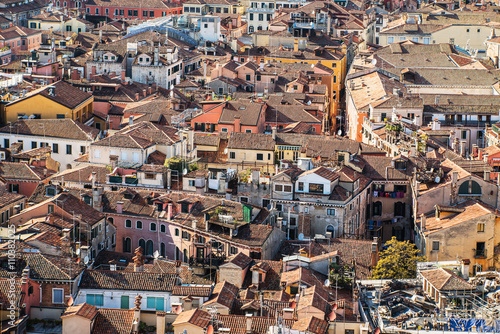 An aerial view of the roofs of the town of Venice in Italy - 110382025