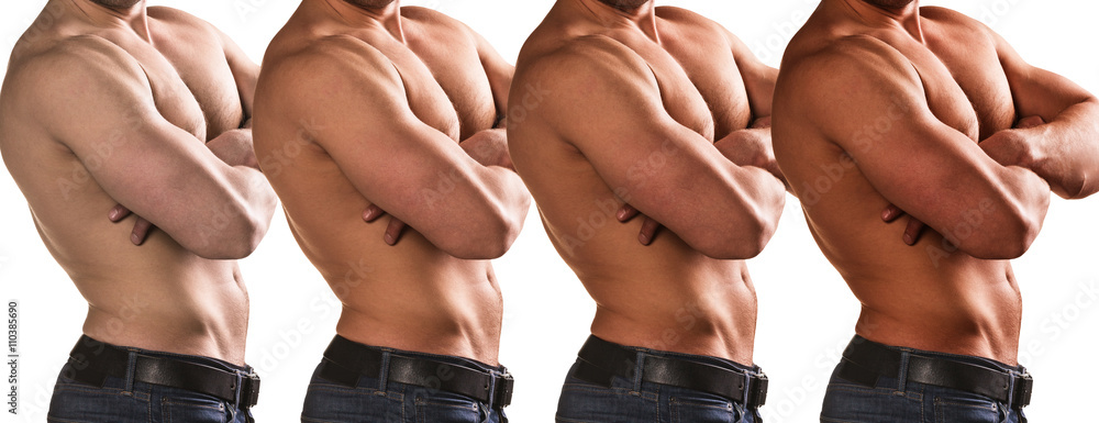 Fototapety, obrazy: Handsome man shows stage of tan
