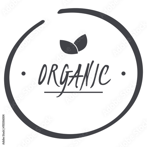 Fotografie, Obraz  vector grey organic circle logo symbol with leaves for food