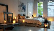 Evening Bedroom In Old Loft Ap...