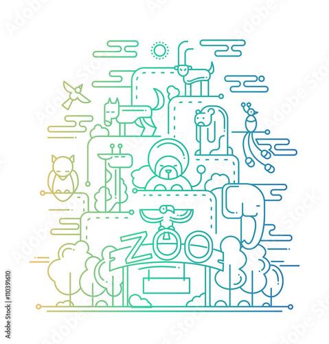 The Zoo - line design illustration