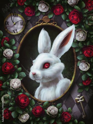White rabbit from Alice in Wonderland. Portrait in oval frame, clock ...