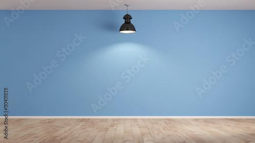 Fotografie, Obraz Lampe vor blauer Wand im Wohnzimmer