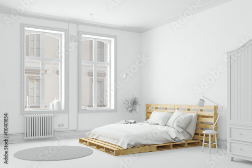 Foto  Palettenbett aus Holz im Schlafzimmer