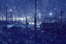 Winter Night View Of The Railw...
