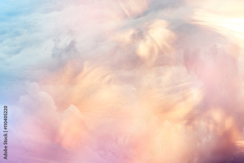 Fototapety, obrazy: abstract watercolor background sunset sky orange purple