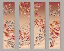 Vertical Vector Illustration Of Koi Fish