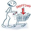 Strichmännchen mit Einkaufswagen und Shopping