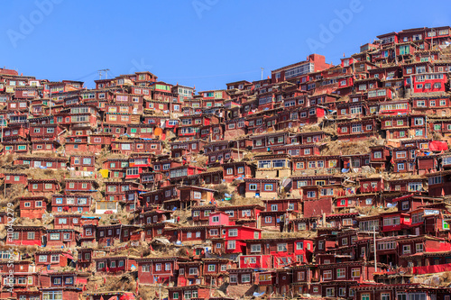 Top view monastery at Larung gar (Buddhist Academy) in sunshine day and backgrou Wallpaper Mural