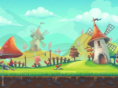 Seamless cartoon landscape with a windmill