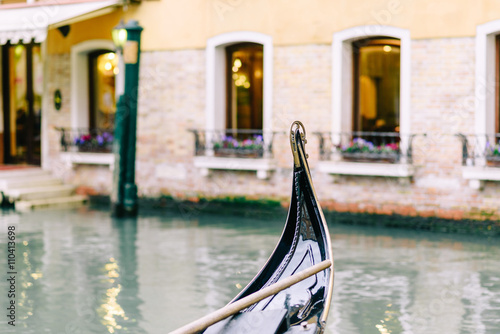 Gondola parked in Venice.
