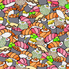 Panel Szklany Sushi Sushi food color seamless pattern illustration vector