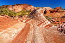 Amazing Colors And Shapes Of Fire Wave Sandstone Formation In Valley Of Fire State Park