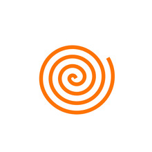 Simple Orange Spiral Vector Icon, Concept Of Pasta Logo, Abstract Cartoon Loop, Swirl, Rotation Symbol Isolated On White Background