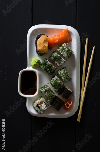 Photo  Set of sushi and rolls