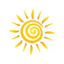 Hand Drawn Spiral Shinny Sun. Vector Graphic Illustration