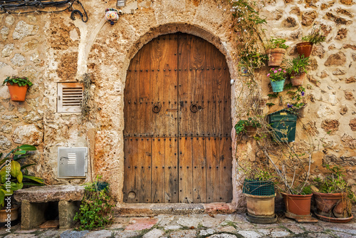 Doorway of traditional stone finca house in Valldemossa