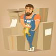 Moving and delivery company illustration.Mover man holding cat.