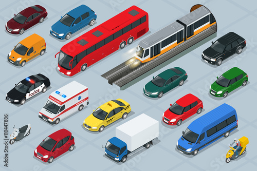 Car icons. Flat 3d isometric high quality city transport car icon set. Car, van, cargo truck, off-road, bus, scooter, motorbike, riders. Transport set. Set of urban public and freight transport.