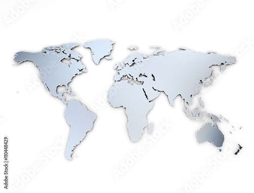 In de dag Wereldkaart World map metal texture with shadow on white background