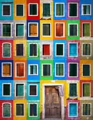 Fototapeta Kolorowe domki Collage of colorful windows with shutters and one door in Burano, Italy. Grunge filter effect used.