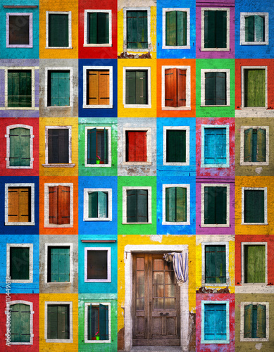Fototapety, obrazy: Collage of colorful windows with shutters and one door in Burano, Italy. Grunge filter effect used.
