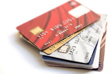 Stack Of Credit Cards On White...