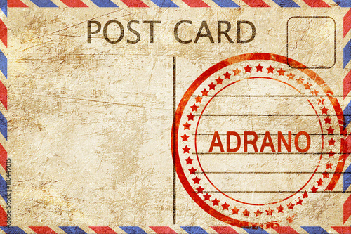 Fotografering  Adrano, vintage postcard with a rough rubber stamp