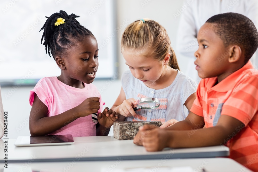 Fototapety, obrazy: Pupils looking at rock with magnifying glass