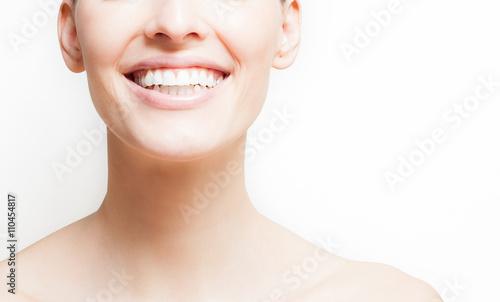 Fotografie, Obraz  Woman smiling, white background, copyspace.