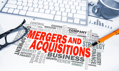Fototapeta mergers and acquisitions word cloud on office scene