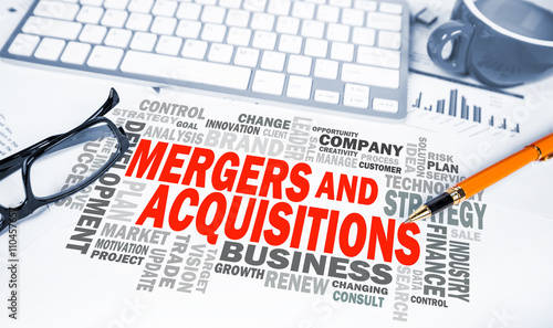 mergers and acquisitions word cloud on office scene - 110457657