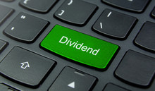 Business Concept: Close-up The Dividend Button On The Keyboard And Have Lime, Green Color Button Isolate Black Keyboard