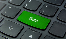 Business Concept: Close-up The Sale Button On The Keyboard And Have Lime, Green Color Button Isolate Black Keyboard