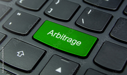 Business Concept: Close-up the Arbitrage button on the keyboard and have Lime, G Canvas Print