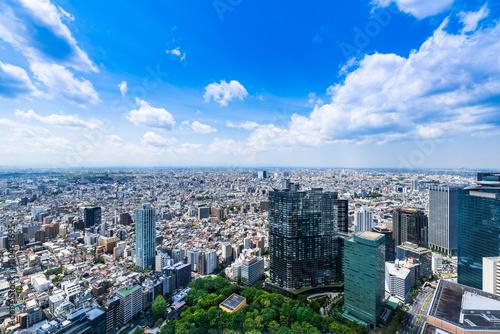 Plakat Tokio niebieskie niebo i miastowy krajobraz